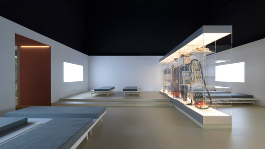 Installation view of Home Economics, the British Pavilion curated by Jack Self with Finn Williams and Shumi Bose at the 2016 Venice Biennale. Each room in the pavilion addressed a different facet of the contemporary crisis of living. Photo by Cristiano Corte. Image Courtesy of Real Foundation