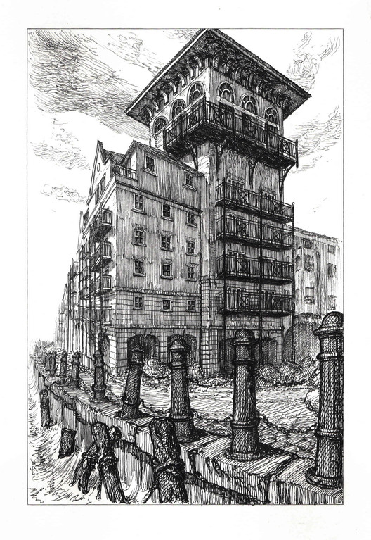 Imperial House, Victory Place, Limehouse E14 8BQ. Ink on Paper, 21 x 14 cm. Copyright Pablo Bronstein, 2017. Courtesy Herald St, London and Galeria Franco Noero, Turin. Image Courtesy of RIBA
