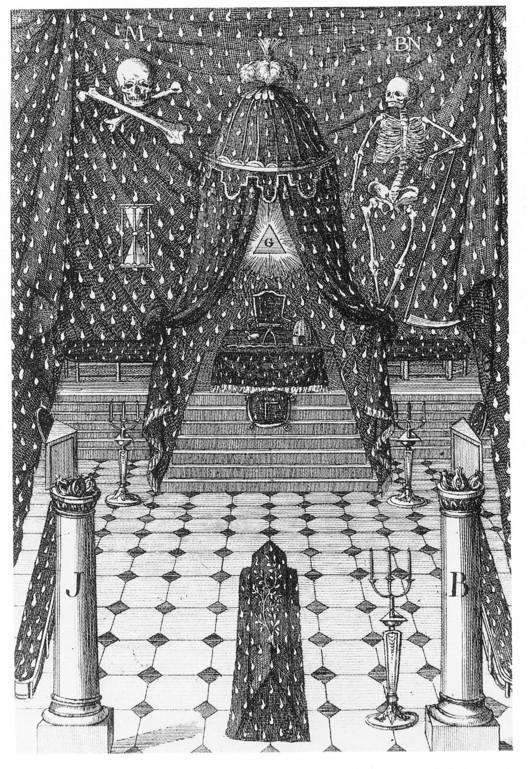 French Lodge design for the Reception of a Master Mason, 1801. From Freemasonry and the Enlightenment, by James Stevens Curl (Public Domain). Image