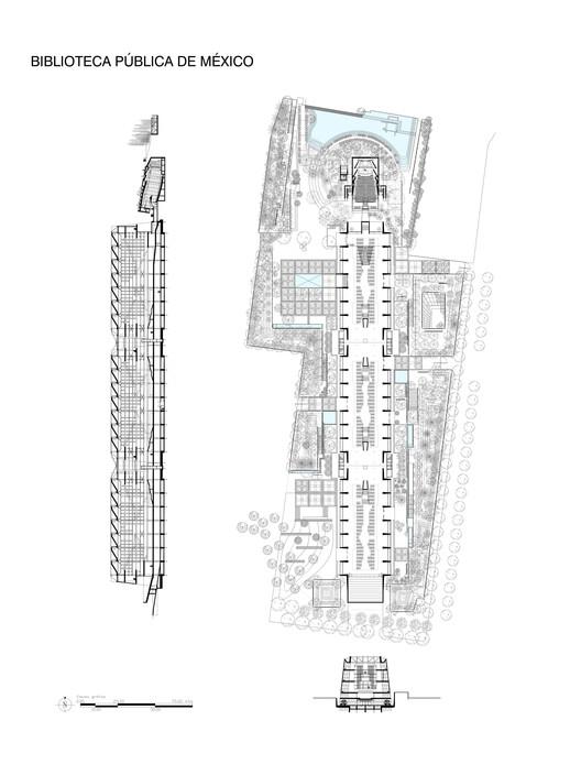 Plano de la Biblioteca Vasconcelos. Imagen Cortesía de Alberto Kalach