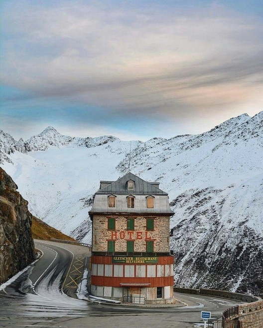Hotel Belvédère near the Rhône Glacier, Switzerland. Image <a href='https://www.reddit.com/r/AccidentalWesAnderson/comments/6gg227/hotel_belv%C3%A9d%C3%A8re_near_the_rh%C3%B4ne_glacier_switzerland/'>via Reddit user pierreor</a>