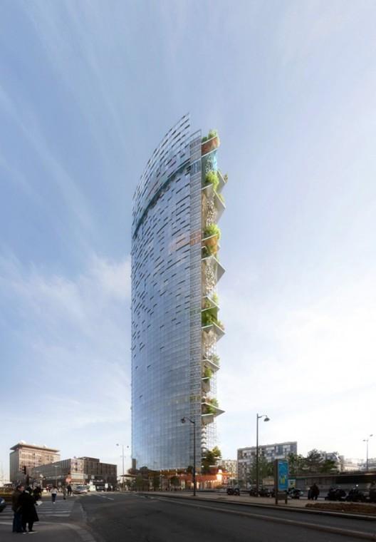 Proposal by PLP Architecture. Image via le Pavillon de l'Arsenal