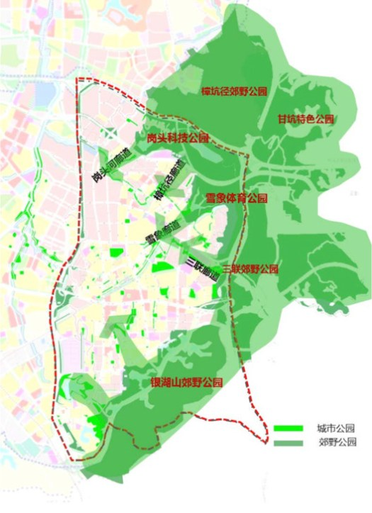 Ban Xue Gang High-Tech Zone Holistic Urban International Consultancy and Planning Implementation Plan Ecological Layout and Greenway Planning Structure Map