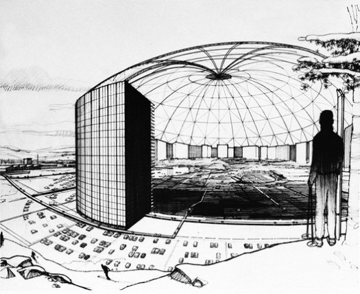 Conceptual drawing of MXC's primary domed enclosure, proposed to be a mile wide in early discussions, but eventually scaled back. Image Courtesy of The Experimental City Documentary
