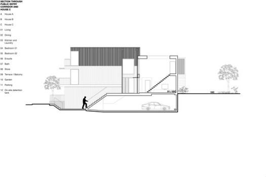 Section through public entry corridor + House C