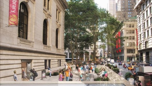 The master plan for the flagship building of the New York Public Library includes creating a new entrance on 40th Street, near Fifth Avenue. Image Courtesy of Mecanoo with Beyer Blinder Belle