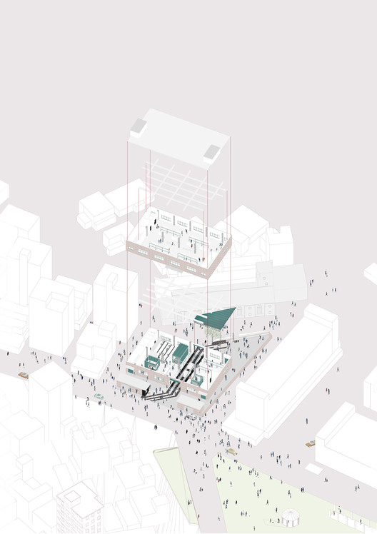 Axonometric View of Minzhi SchoolFactory Venue