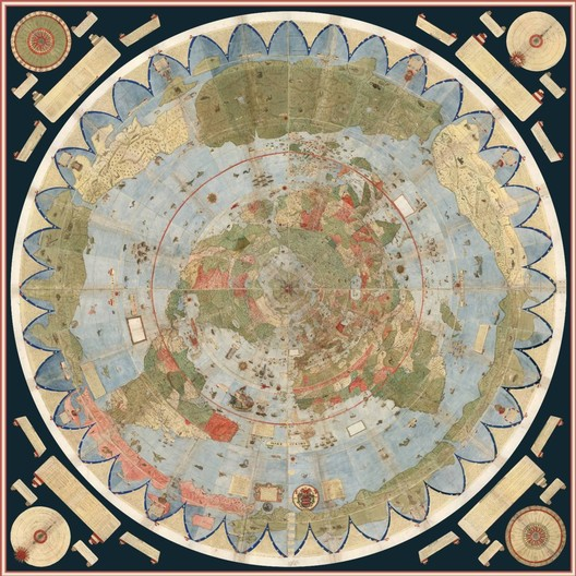Mapamundi de Urbano Monte reconstruido digitalmente por la Universidad de Stanford. Imagen vía David Rumsey Map Collection, Universidad de Stanford
