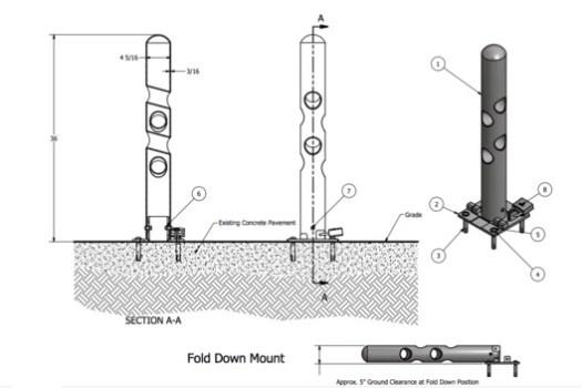 R-7972 Bike Bollard - Fold Down Mount