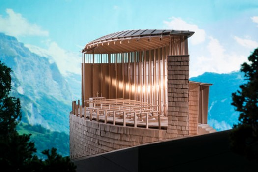 """A model of Peter Zumthor's Saint Benedict Chapel, built for Kenneth Frampton's """"Studies in Tectonic Culture"""" class at Columbia GSAPP and <a href='https://www.archdaily.com/805658/these-intricate-architectural-models-will-change-how-you-see-their-famous-full-size-counterparts'>photographed by James Ewing for the exhibition """"Stagecraft: Models and Photos""""</a>. Image © James Ewing, Courtesy Columbia GSAPP"""