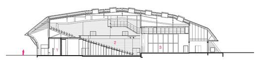 """COM-SCC-COUPE_LONGITUDINALE """"Les Fuseaux"""" Cultural Center / ANMA Architecture"""