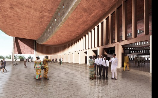Podium Entrance to Auditorium. Image Courtesy of Adjaye Associates
