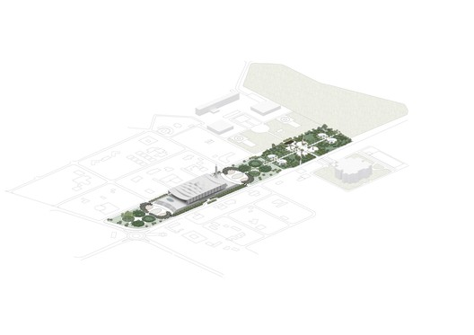 Axonometric of Site. Image Courtesy of Adjaye Associates