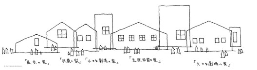 """Fujimoto's drawings for the new Ishinomaki City Cultural Center are based on familiar """"house"""" shapes. Image Courtesy of SFA"""