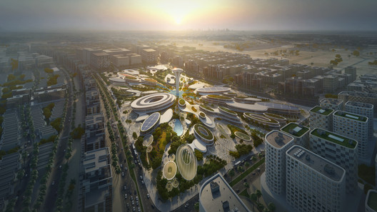 ZHA 's Central Hub will take a prominent position in the UAE's Aljada masterplan. Image Courtesy of Zaha Hadid Architects