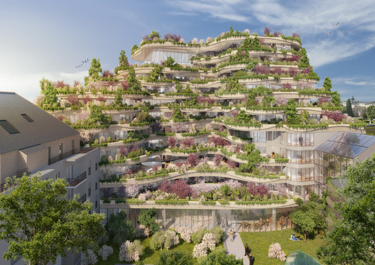 03_-_ARBORICOLE_-_VIEW_FROM_THE_GARDEN Vincent Callebaut Architectures Wins Public Vote for Millennial Vertical Forest Competition Architecture