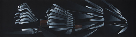 02._Fac%CC%A7ade_articulation_study_(painting_using_multiple_perspectives) 520 West 28th / Zaha Hadid Architects Architecture