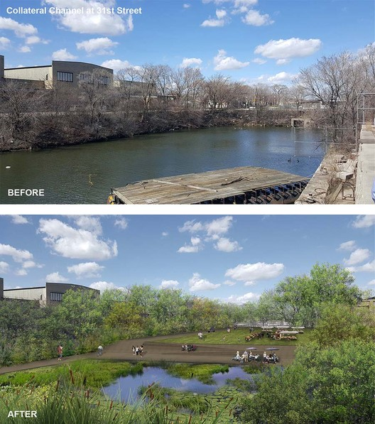 """The firm's project for Collateral Channel, in the city's Little Village neighborhood, calls for transforming a polluted, methane-emitting body of water—locally nicknamed """"Ass Creek""""—into a vibrant urban park. Image Courtesy of Ross Barney Architects"""
