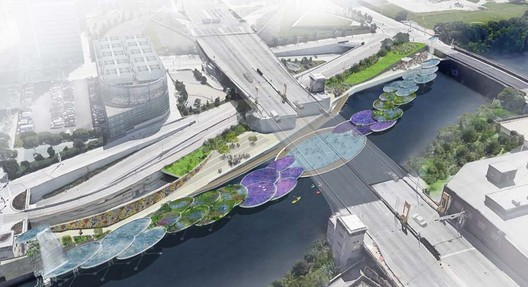 A major component of the plan is to reclaim stretches of river lost to the effects of industrialization for the use of communities located far away from the Loop. Ross Barney's landscape designs for the project were included in the recent Chicago Urban River Edge Ideas Lab exhibition. Image Courtesy of Ross Barney Architects