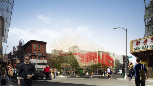 "Render_2 ODA Unveils Images of Bamboo-Inspired ""Dragon Gate"" for New York's Chinatown Architecture"