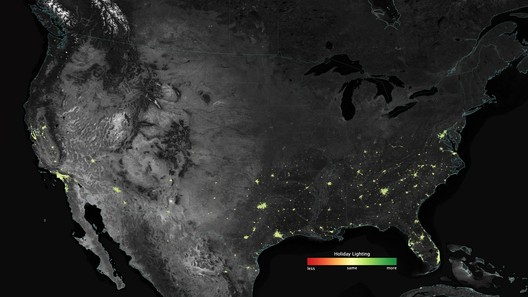 City lights shine brighter during the holidays in the United States when compared with the rest of the year, as shown using a new analysis of daily data from the NASA-NOAA Suomi NPP satellite. Dark green pixels are areas where lights are 50 percent brighter, or more, during December. Credits: NASA's Earth Observatory/Jesse Allen