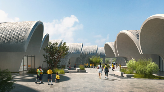10_ZHA_Lushan_render_by_VA Zaha Hadid Architects Designs Parabolic-Vaulted School Campus in Rural China Architecture