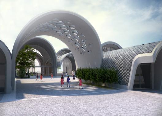 08_ZHA_Lushan_Entrance_courtesy_of_ZHA Zaha Hadid Architects Designs Parabolic-Vaulted School Campus in Rural China Architecture