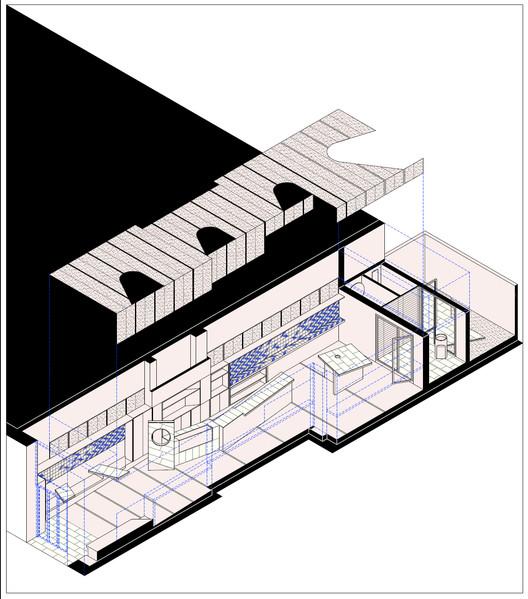 Axo_(1) Refurbishment of Bar El Villa - Vermuteria del Mar / AMOO | Aureli Mora + Omar Ornaque Architecture