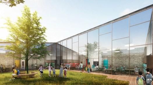 School Exterior Visualization. Image Courtesy of Stefano Boeri Architetti