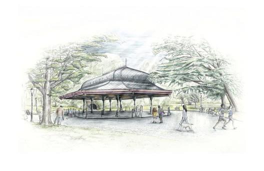 Concert Grove Pavilion / Prospect Park Alliance In-House Design. Image via New York City Public Design Commission