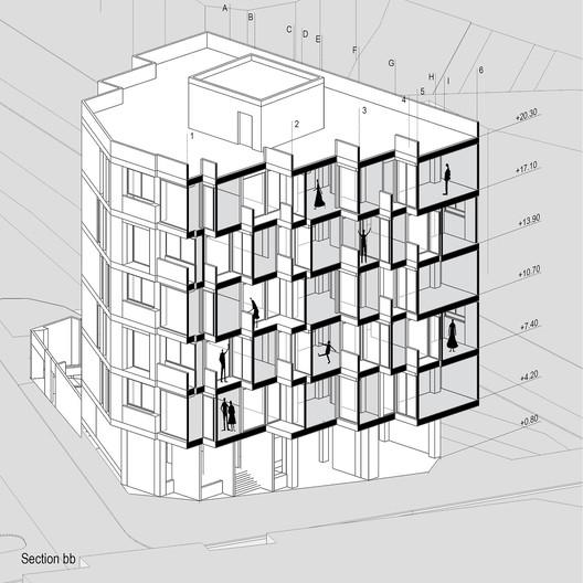section_b-b Khab-e-Aram Residential Complex / USE Studio Architecture