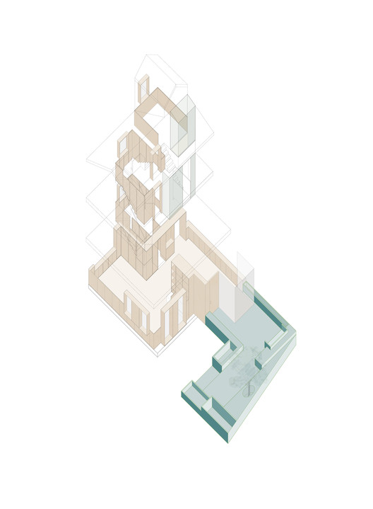 2-axonometric The House with a Tiny Patio / Atelier TAO+C Architecture