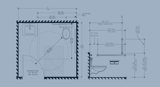 ADA Design Guide / Washrooms & Showers. Image Courtesy of Bradley Corporation USA