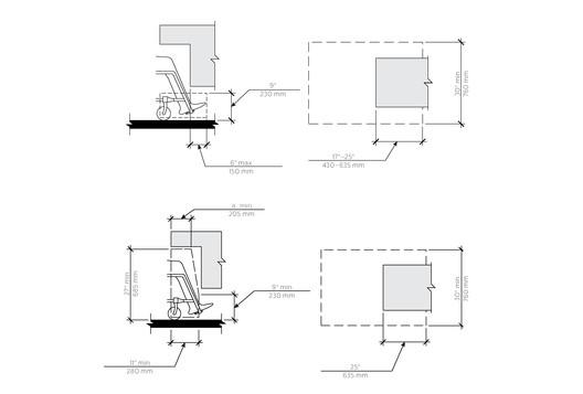 Single Occupant Room / Toe Clearance. Image Courtesy of Bradley Corporation USA