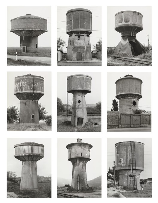 "Bernd Becher, Hilla Becher. Water Towers, 1988. © 2018 Hilla Becher. Credits: MoMA; Gift from Werner and Elaine Dannheisser. Under ""Fair Use"""