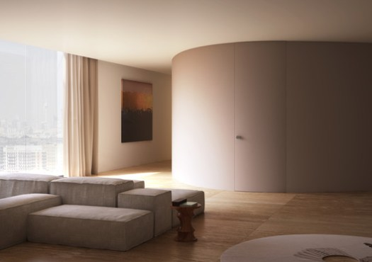 Linvisibile - Alba Curved Hinged door - as wall finish. Image Courtesy of Linvisibile