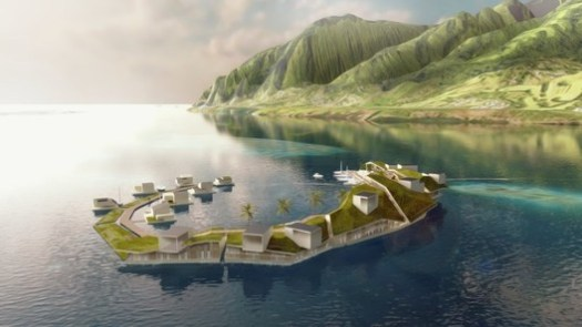 The Floating Island Project proposed for French Polynesia never became a reality, but will floating cities be the future of urban living?. Image© Blue Frontiers, via The New York Times