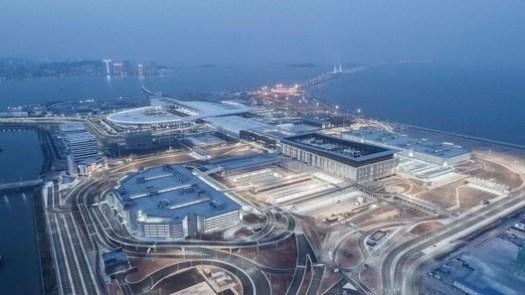 Hong Kong-Zhuhai-Macao Bridge Aerial View. Image © Feng Shao