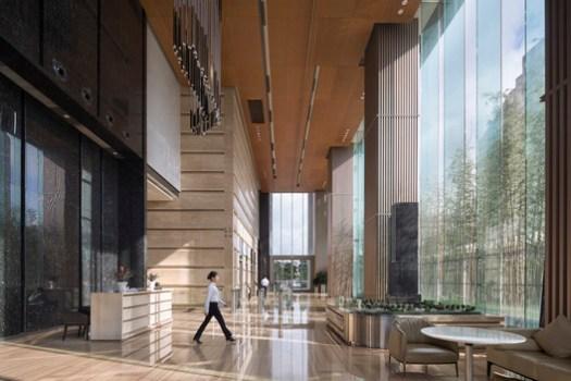 Office lobby interior space. Image © Taipei Ceng