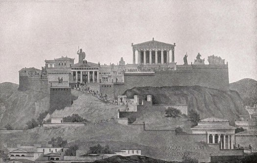 Courtesy of Wikimedia user Quibik PD. ImageAn elevation of the entire Acropolis as seen from the west; while the Parthenon dominates the scene, it is nonetheless only part of a greater composition. ImageCourtesy of Wikimedia user Quibik (Public Domain)