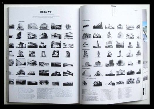 """© MVRDV / The Why Factory. ImageA spread from The Why Factory's 2017 book, Copy Paste showing similarities between apparently """"unique"""" buildings"""