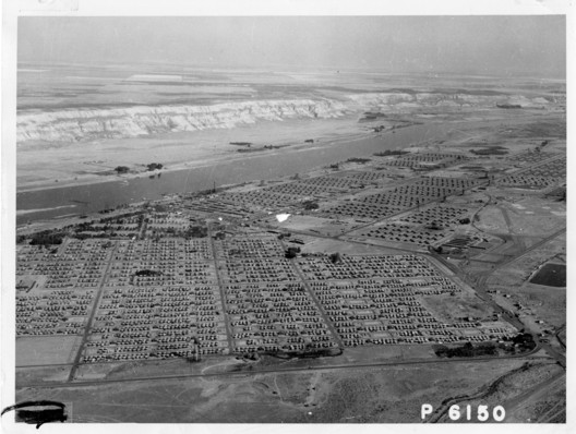 Aerial view of the Hanford Construction camp. Image Courtesy of National Archives and Records Administration