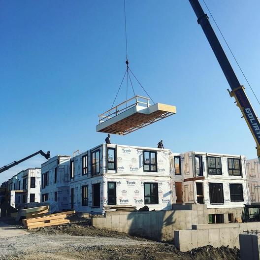 Modular construction by Maisons Laprise, Quebec, Canada. Image Courtesy of QWEB