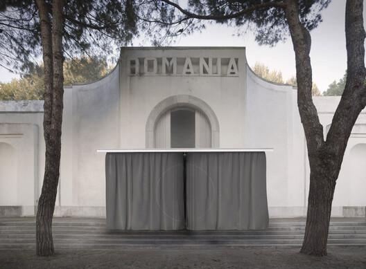 Fading Borders Pavilion of Romania at Giardini, exterior render, 2021 . Image © POSTER