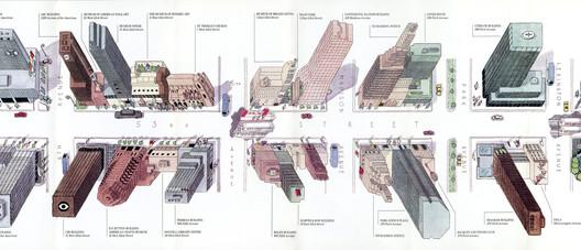 Steven  Guarnaccia and Pentagram New York, A Walk on 53rd Street, map for 53rd Street Association, 1987.. Image Courtesy of Decoding Manhattan