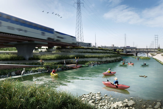 Studio-MLA is adopting lessons learned from their Los Angeles River design project design, shown here, to the River-Side Gateway master plan. Image Courtesy of Studio-MLA