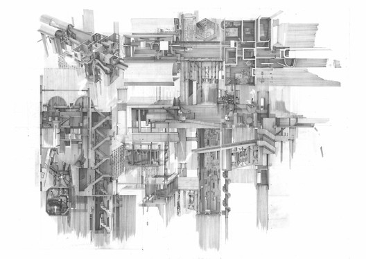 Apartment #5, a Labyrinth and Repository of Spatial Memories by Clement Laurencio. Shorlisted of The Architecture Drawing Prize 2020