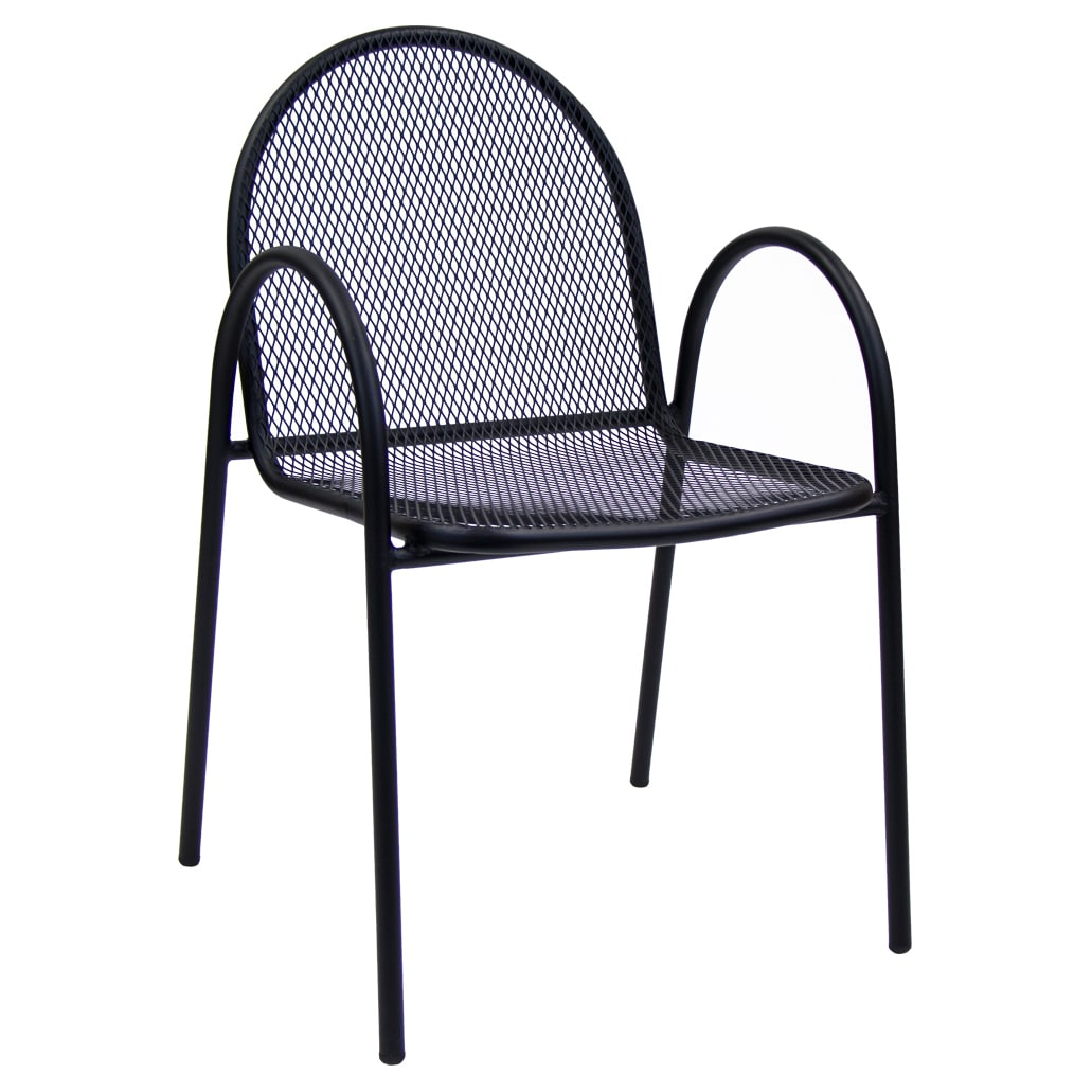 black metal mesh patio arm chair