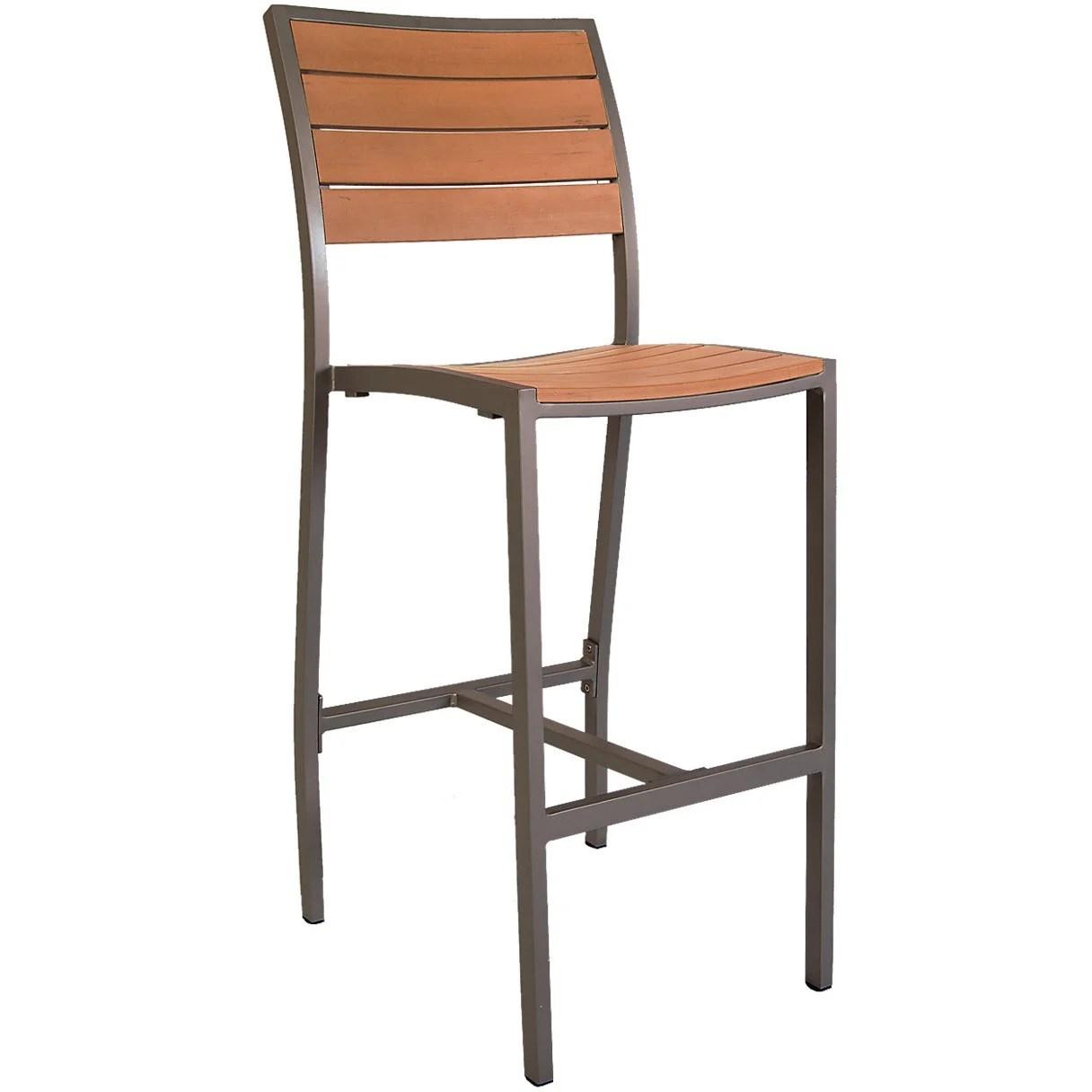 aluminum rust colored patio bar stool with plastic teak