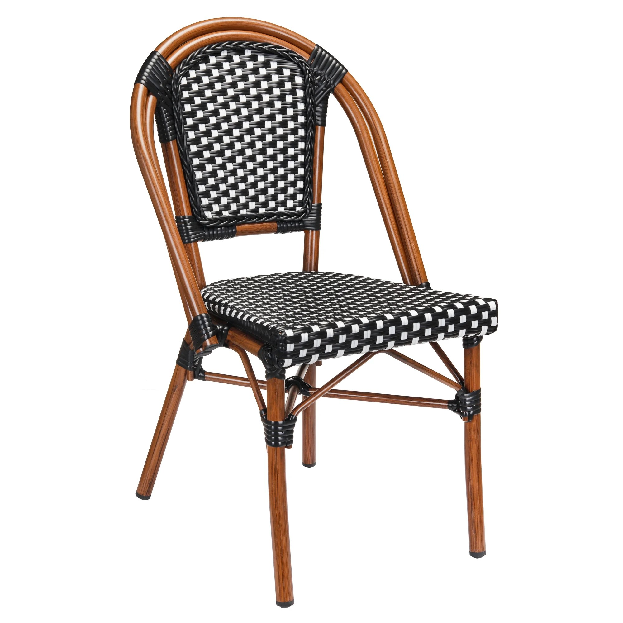 aluminum bamboo patio chair with black white rattan